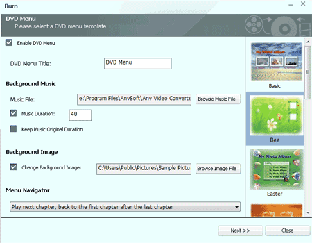 Choose DVD Menu in WMV to DVD Converter
