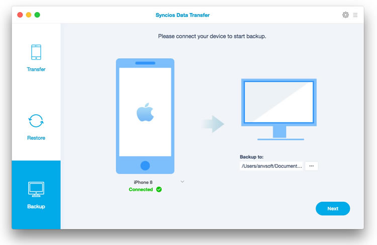 Backup data to Mac